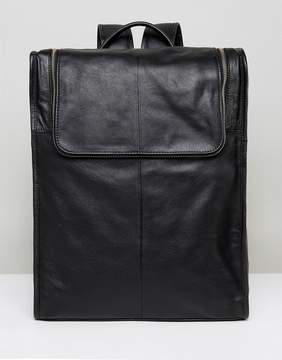 Asos Leather Backpack In Black With Zip Top