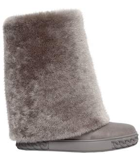 Casadei 80mm Shearling & Leather Wedged Boots