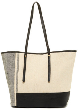 SR SQUARED BY SONDRA ROBERTS Linen Colorblocked Tote