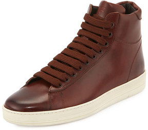 Tom Ford Russel Leather High-Top Sneaker, Brown