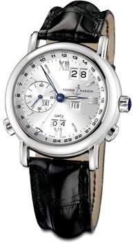 Ulysse Nardin GMT Perpetual Silver Dial 18kt White Gold Black Leather Men's Watch 320-22-31