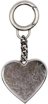 Saint Laurent Silver Heart Monogram Keychain