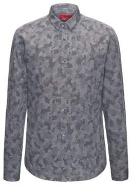 HUGO Boss Camo-Twill Cotton Sport Shirt, Extra Slim Fit Ero W S Black