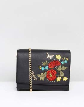 New Look Embroidered Chain Shoulder Bag