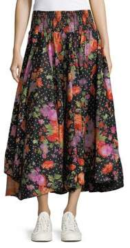 Context Floral Dotted Flare Skirt