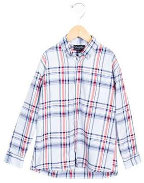 Oscar de la Renta Boys' Plaid Button-Up Shirt