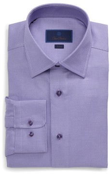David Donahue Men's Trim Fit Solid Dress Shirt