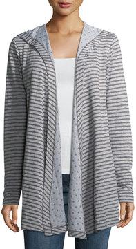 Allen Allen Striped Hooded Open-Front Wrap Cardigan