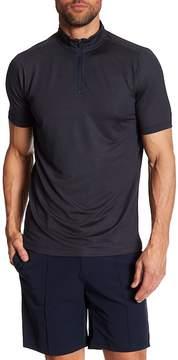 Perry Ellis Short Sleeve Woven Zip Neck Polo