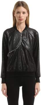 Freddy Curve Zip Sequined Cotton Sweatshirt