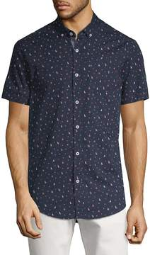 Report Collection Men's Boat and Anchor-Print Cotton Button-Down Shirt