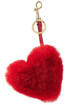 Anya Hindmarch Heart Keychain with Leather and Rabbit Fur