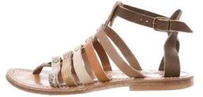 K Jacques St Tropez Leather Ponyhair-Trimmed Sandals