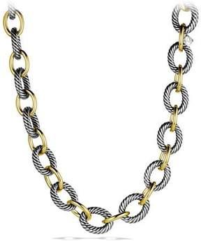 David Yurman XL Sterling Silver & 18K Gold Link Necklace, 17