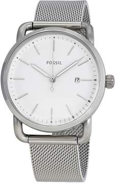 Fossil The Commuter White Dial Stainless Steel Mesh Ladies Watch