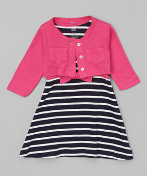 Hudson Baby Berry & Navy Crop Cardigan & Racerback Dress Set - Newborn & Infant