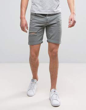 Pull&Bear Denim Shorts With Rips In Washed Out Gray