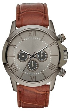 Mossimo Men's Roman Numeral Dial with Brown Strap Watch - Brown/Gun
