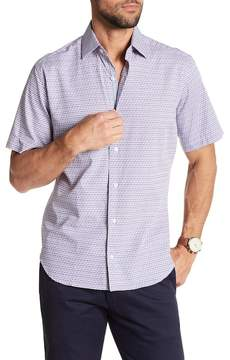 Tailorbyrd Short Sleeve Print Trim Fit Dress Shirt