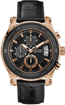 GUESS Men's Chronograph Pinnacle Black Leather Strap Watch 46mm U0673G5