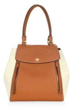 Tory Burch Half-Moon Straw Leather Tote - NATURAL - STYLE