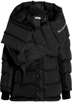 Balenciaga Swing Doudoune Oversized Hooded Quilted Shell Down Coat - Black