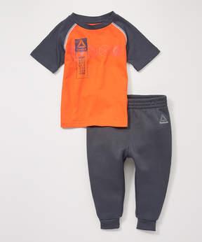 Reebok Orange Lead With Speed Crewneck Tee & Joggers - Toddler & Boys