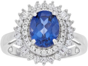 Vera Wang Simply Vera Lab-Created Blue & White Sapphire Oval Halo Ring