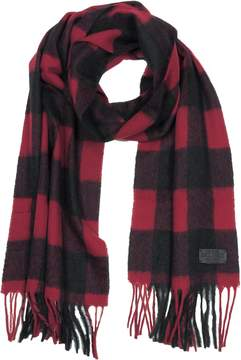 DSQUARED2 Black and Burgundy Checked Wool Blend Men's Scarf w/Fringes