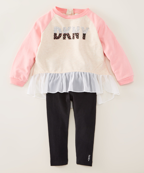 DKNY Peony Pink 'DKNY' Tunic & Black Jeans - Infant, Toddler & Girls