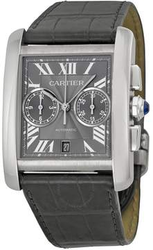 Cartier Tank MC Chronograph Grey Dial Grey Leather Men's Watch