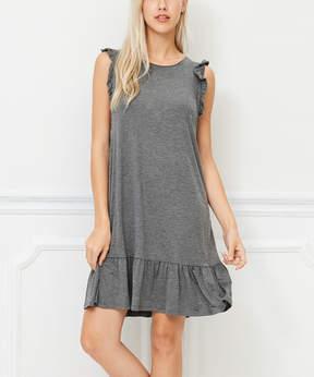 Bellino Charcoal Ruffle Shift Dress - Women