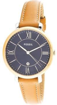 Fossil Women's Jacqueline ES4274 Rose-Gold Leather Japanese Quartz Fashion Watch