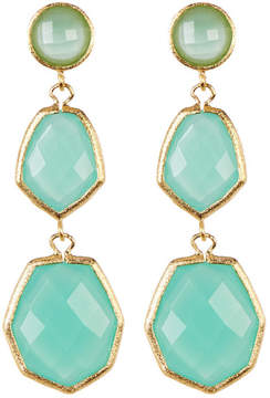 Rivka Friedman 18K Gold Clad Triple Dangle Deco Design Faceted Mint Chalcedony Crystal Earrings