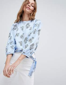 Brave Soul Swoop Long Sleeve Top in Large Scale Floral Print