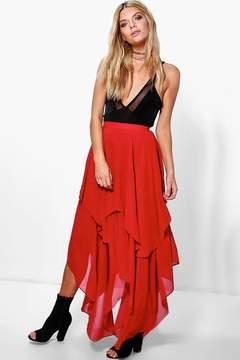 boohoo Ruffle Hem High Low Chiffon Maxi Skirt