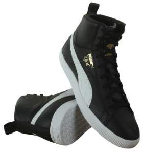 Puma Clyde Mid Core Foil Black White Mens High Top Sneakers