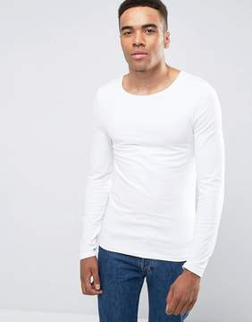 Asos Extreme Muscle Fit Long Sleeve T-Shirt With Scoop Neck In White