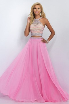 Blush Lingerie Two-Piece Bejeweled Illusion High Neck Gown 11056