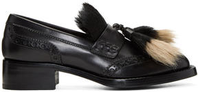 Prada Black Leather and Pony Hair Brogue Loafers