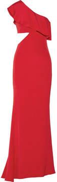 Cushnie et Ochs Bea One-shoulder Cutout Silk Crepe De Chine Gown - Claret
