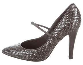 Moschino Woven Leather Pointed-Toe Pumps