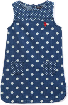 U.S. Polo Assn. Dark Wash Polka Dot Sleeveless Dress - Toddler