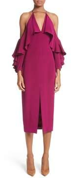 Cushnie et Ochs Cold Shoulder Ruffle Silk Sheath Dress