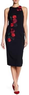 Betsey Johnson Flora Applique Scuba Crepe Dress