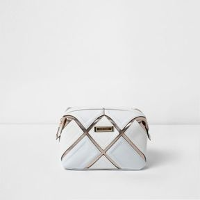 River Island Womens White cutabout metallic make-up bag
