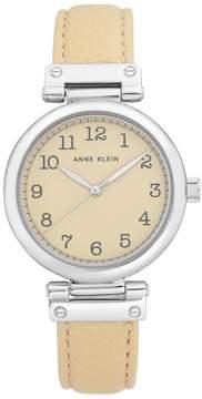 Anne Klein Silvertone Beige Faux Leather Strap Watch