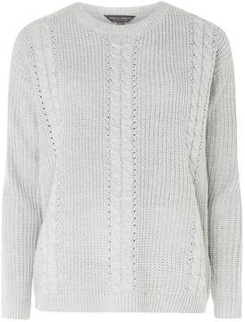 Dorothy Perkins **Tall Grey Cable Front Jumper