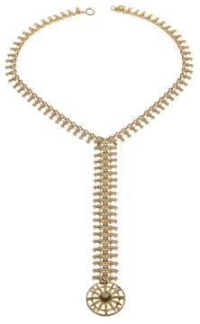 RJ Graziano Brasstone Medallion Drop 22-3/4 Necklace