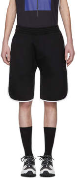 Neil Barrett Black and White Slouch Low-Rise Basketball Shorts